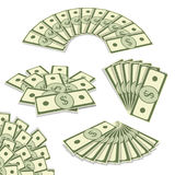 Banknotes fan set vector illustration. Drawn in a perspective si Royalty Free Stock Photography