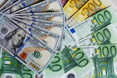Banknotes. Fan-shaped banknotes, dollar and euro Stock Photography
