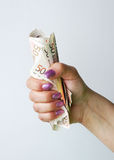 Banknotes in the female hand Stock Image