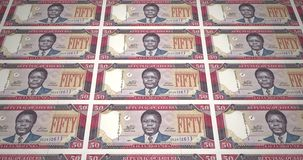 Banknotes of fifty dollar liberians of Liberia rolling, cash money, loop. Series of banknotes of fifty dollars of the bank of Liberia rolling on screen, coins of royalty free illustration