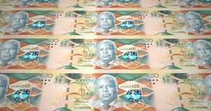 Banknotes of fifty dollars of Barbados island rolling, cash money, loop. Series of banknotes of fifty dollars of the bank of Barbados Island rolling on screen stock illustration