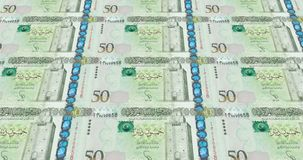 Banknotes of fifty libyan dinars of Libya rolling on screen, cash money, loop. Series of banknotes of fifty libyan dinars of the central bank of Libya rolling on vector illustration