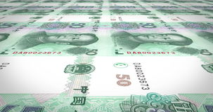 Banknotes of fifty renminbi chinese rolling on screen, cash money, loop stock video
