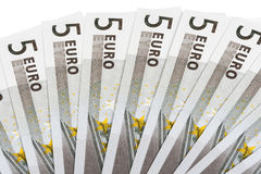 Banknotes on five euros Stock Photos
