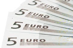 Banknotes on five euros. Some banknotes on five euros on a white background Stock Photo