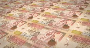 Banknotes of five jordanian dinars of Jordan rolling, cash money, loop. Series of banknotes of five jordanian dinars of the central bank of Jordan rolling on stock illustration