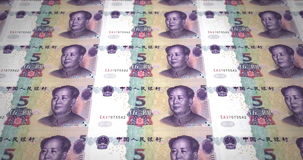 Banknotes of five renminbi chinese rolling on screen, cash money, loop stock video