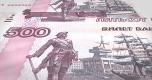 Banknotes of five thousand rubles russians rolling on screen, cash money, loop stock video footage