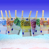 Banknotes in front of the beach Stock Photos