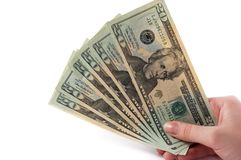 Banknotes in hand. Dollar banknotes in hand with copy space Stock Photo