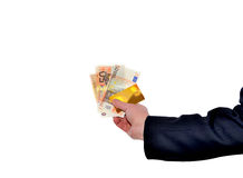 Banknotes in hand Stock Photography