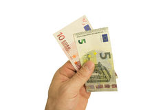 Banknotes in hand. European Union banknotes in hand, isolated on white background Stock Photos