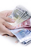 Banknotes in hand Stock Photo