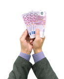 Banknotes in the hands of men Royalty Free Stock Photo