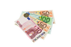 Banknotes and wallets. Banknotes are her fan. Isolated Royalty Free Stock Photography