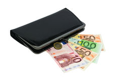 Banknotes and wallets. Banknotes are her fan. Wallet. Isolated Royalty Free Stock Image