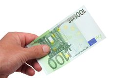 Banknotes in his hand Royalty Free Stock Image