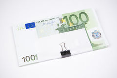 Banknotes hundred euros on a white background Royalty Free Stock Photos