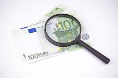 Banknotes hundred euros on a white background Stock Photo