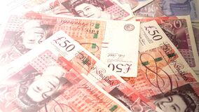 Free Banknotes In Denominations Of Fifty Pounds, Money, United Kingdom Stock Photos - 179340563