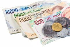 Banknotes from Italy. Italian lira Royalty Free Stock Photo
