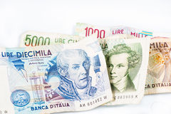 Banknotes from Italy. Italian lira 10000, 5000, 2000, 1000. Royalty Free Stock Image