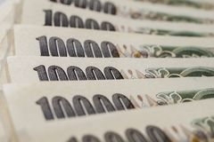 Banknotes of Japanese yen currency background.  Stock Images