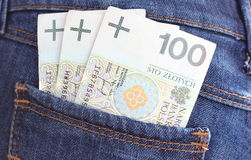 Banknotes and jeans pocket Stock Images