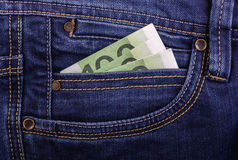 Banknotes in jeans pocket Stock Photos
