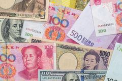 Banknotes of the most dominant countries in world Royalty Free Stock Photos