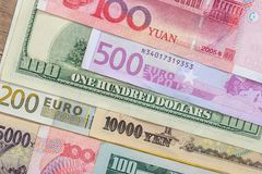 Banknotes of the most dominant countries in world Stock Photo