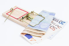 Banknotes in mousetrap Royalty Free Stock Image