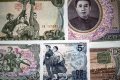 Banknotes of North Korea. Background. Banknotes of North Korea Stock Images