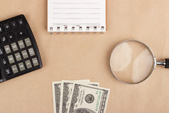 Banknotes, notepad, calculator. Background Royalty Free Stock Photos