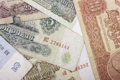 Banknotes obsolete rubles currency of the Soviet Union Royalty Free Stock Image