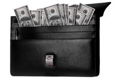 Banknotes in old attache. Old case with cash in it royalty free stock photos