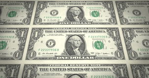 Banknotes of one dollar passing on screen, cash money, loop stock video footage