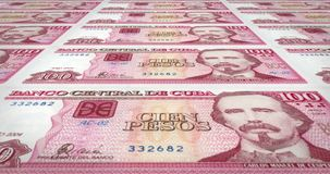 Banknotes of one hundred cuban pesos of central bank of Cuba, cash money, loop. Series of banknotes of one hundred cuban pesos of the central bank of Cuba island royalty free illustration