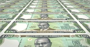 Banknotes of one hundred dollar liberians of Liberia rolling, cash money, loop. Series of banknotes of one hundred dollars of the bank of Liberia rolling on royalty free illustration