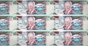 Banknotes of one hundred dollars of Barbados island rolling, cash money, loop. Series of banknotes of one hundred dollars of the bank of Barbados Island rolling royalty free illustration