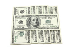 Banknotes of one hundred dollars square Stock Photography