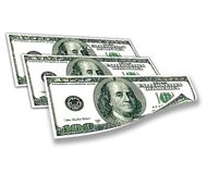 3 banknotes of one hundred dollars Stock Photos