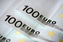 Banknotes in one hundred euros Stock Photos