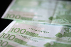 Banknotes in one hundred euros Stock Photo