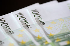 Banknotes in one hundred euros Royalty Free Stock Photos