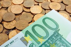 Banknotes of one hundred euros royalty free stock photos