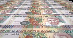 Banknotes of one hundred gambian dalasis of Gambia rolling, cash money, loop. Series of banknotes of one hundred gambian dalasis of the Central Bank of Gambia stock illustration