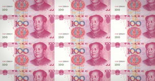 Banknotes of one hundred renminbi chinese rolling on screen, loop stock video footage