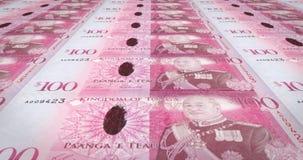 Banknotes of one hundred Tongan pa`anga of Tonga, cash money, loop. Series of banknotes of one hundred Tongan pa`anga of Tonga, cash money, loop vector illustration