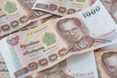 Banknotes one thousand baht. One thousand thai baht banknotes Stock Images